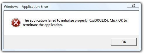 Error 0xc0000135 - The application failed to initialize properly