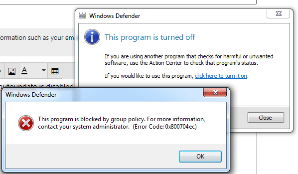 Error 0x800704e -Windows Defender and Windows Store