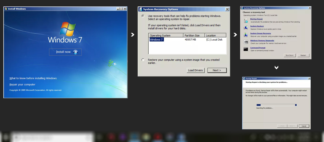 how to install startup repair windows 7