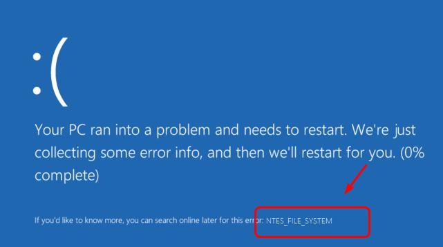 NTFS_FILE_SYSTEM BSOD Error