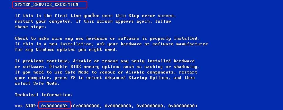 BSOD Error 0x0000003b
